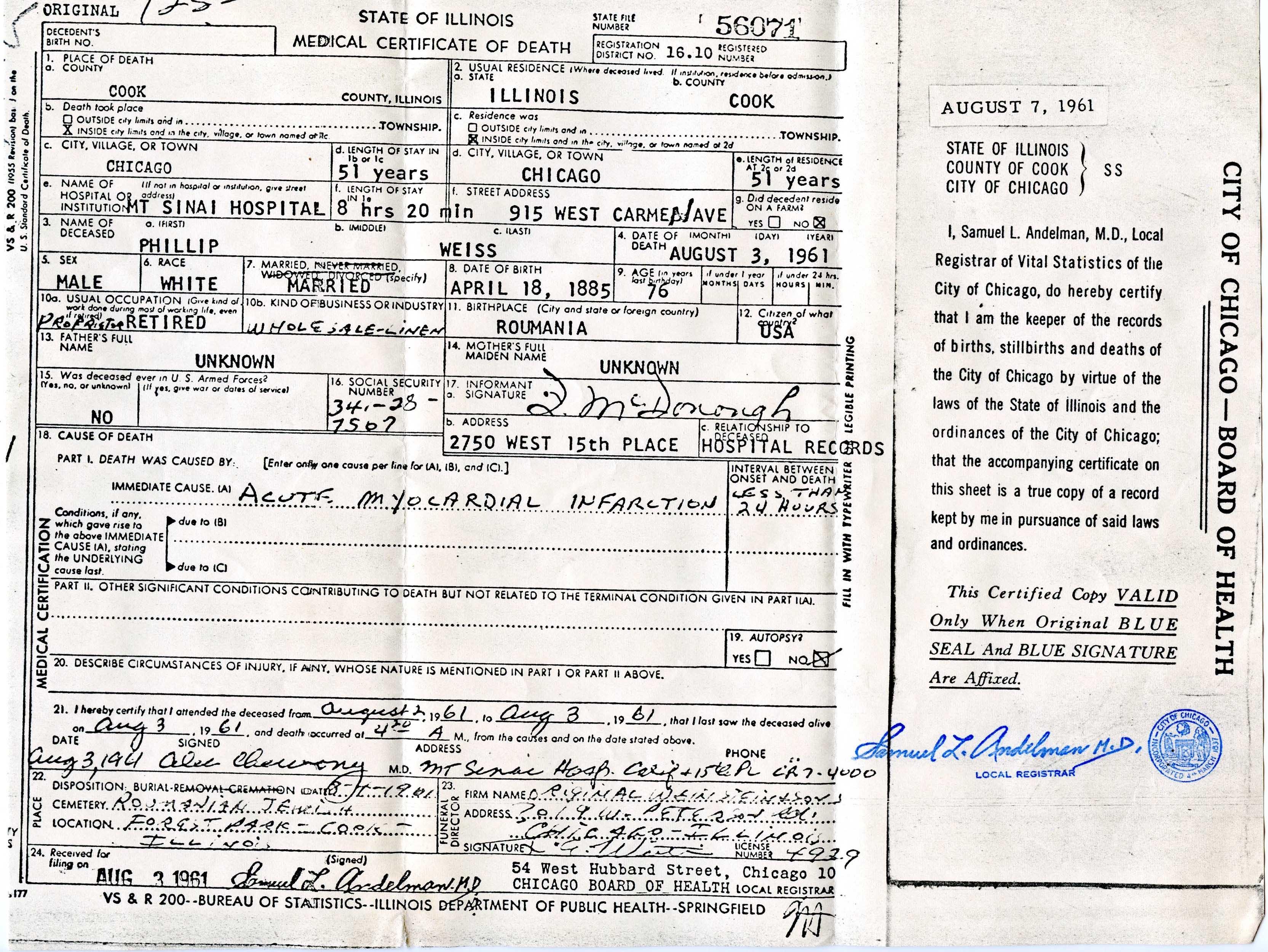 Phillip Weiss death certificate