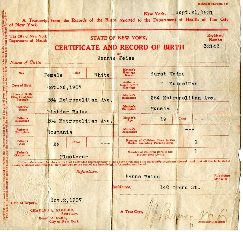 Jeane Weiss birth record